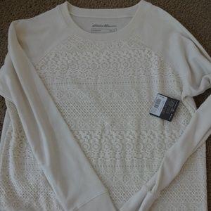 Eddie Bauer Legendwash Lace Front Sweatshirt NWT!
